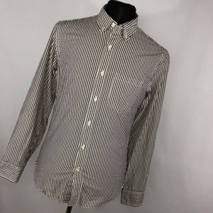 J. Crew S Small Shirt Slim Fit Brown White Stripe